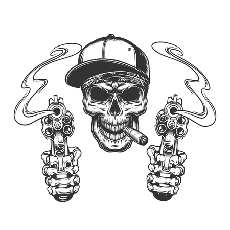 Skull smoking cigar in baseball cap with skeleton hands holding pistols in vintage monochrome style isolated vector illustration