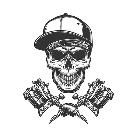 Skull in bandana and baseball cap with crossed tattoo machines in vintage monochrome style isolated vector illustration Foto de archivo - 115207380