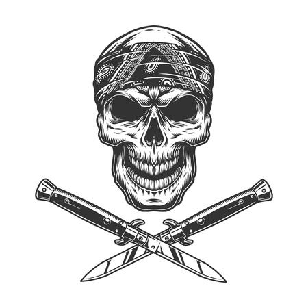 Cráneo de bandido vintage en pañuelo con cuchillos cruzados aislados ilustración vectorial Ilustración de vector