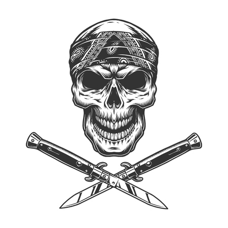 Vintage bandit skull in bandana with crossed knives isolated vector illustration