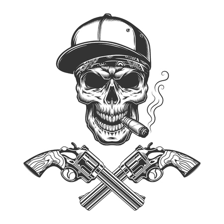 Vintage monochrome bandit skull smoking cigar in baseball cap with crossed guns isolated vector illustration Stock Illustratie