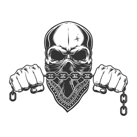 Vintage criminal concept with skull in bandana on face and male hands holding chain isolated vector illustration