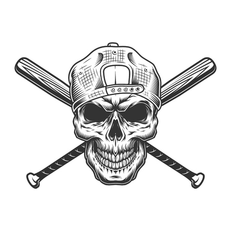 Vintage monochrome criminal concept with gangster skull in hipster cap and crossed baseball bats isolated vector illustration Illustration