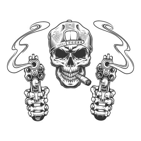 Cráneo de gángster monocromo vintage en tapón fumando cigarro con manos esqueléticas sosteniendo pistolas ilustración vectorial aislada