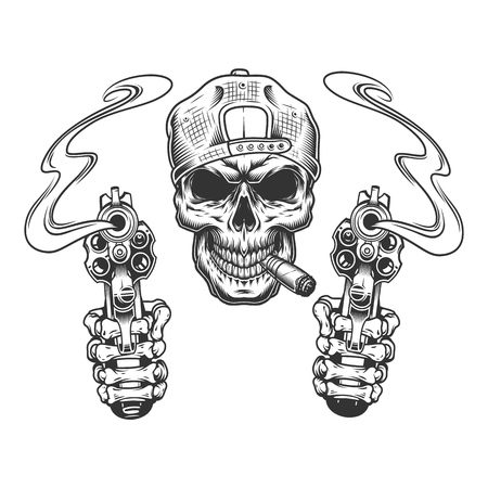 Vintage monochrome gangster skull in cap smoking cigar with skeleton hands holding pistols isolated vector illustration