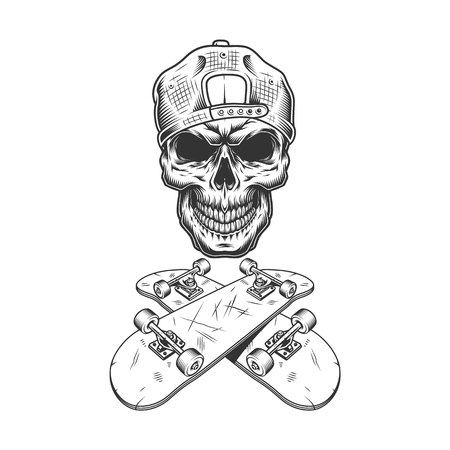 Vintage monochrome skateboarder skull in cap wtih crossed skateboards isolated vector illustration