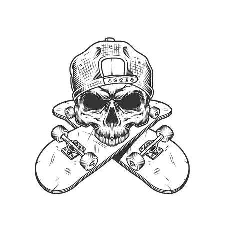 Skateboarder skull without jaw with crossed skateboards in vintage monochrome style isolated vector illustration 版權商用圖片 - 115207416