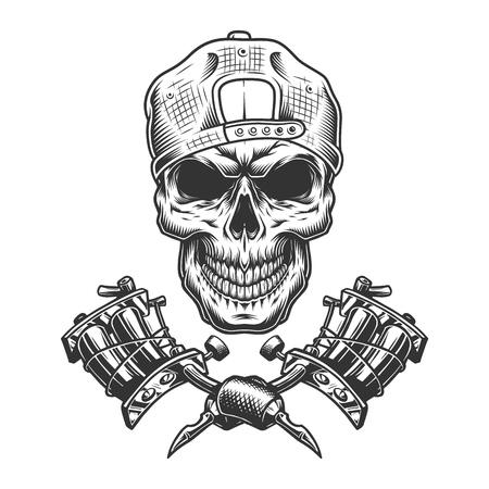 Cráneo del maestro del tatuaje de la vendimia en la tapa con las máquinas de tatuaje cruzadas aisladas ilustración del vector Ilustración de vector