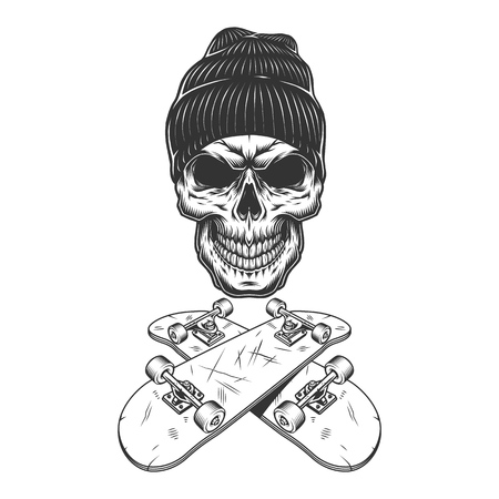 Vintage monochrome skateboarder skull in beanie hat with crossed skateboards isolated vector illustration