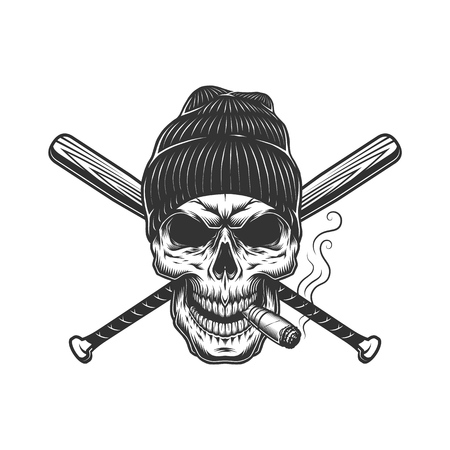 Vintage gangster skull in beanie hat smoking cigar and crossed baseball bats isolated vector illustration