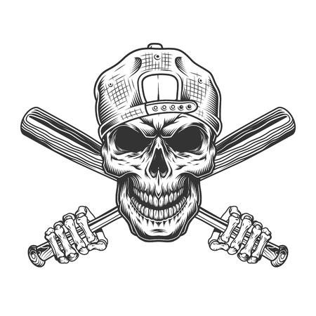 Crâne de bandit vintage en casquette hipster et mains squelette tenant des battes de baseball croisées illustration vectorielle isolée