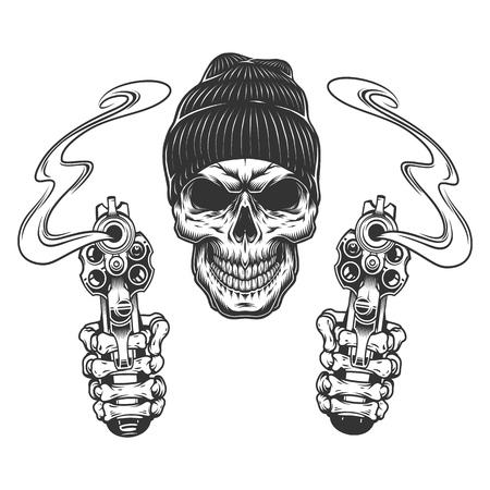 Cráneo de gángster en gorro con manos esqueléticas sosteniendo revólveres en estilo monocromo vintage aislado ilustración vectorial
