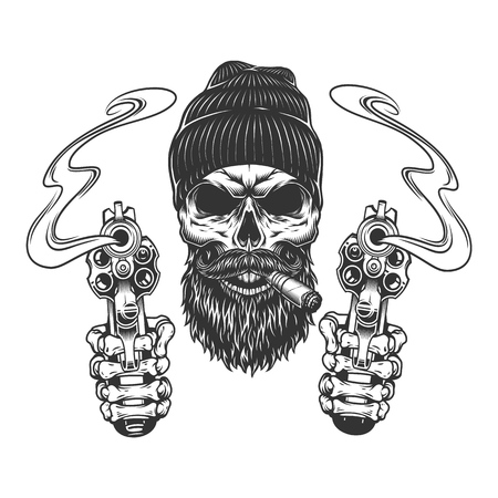 Bearded and mustached gangster skull in beanie hat smoking cigar and skeleton hands holding pistols isolated vector illustration Çizim