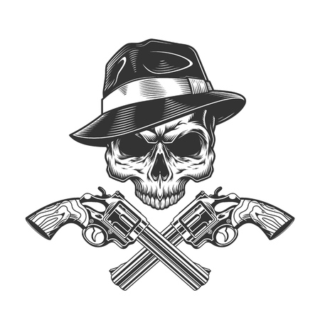 Vintage monochrome gangster skull without jaw and crossed pistols isolated vector illustration