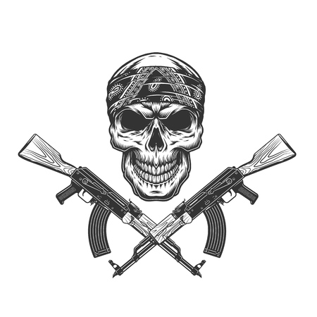Vintage monochrome bandit skull in bandana with crossed machine guns isolated vector illustration Illustration