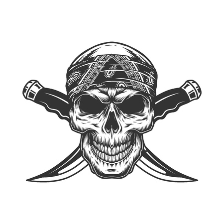 Vintage monochrome gangster skull in bandana with crossed knives isolated vector illustration