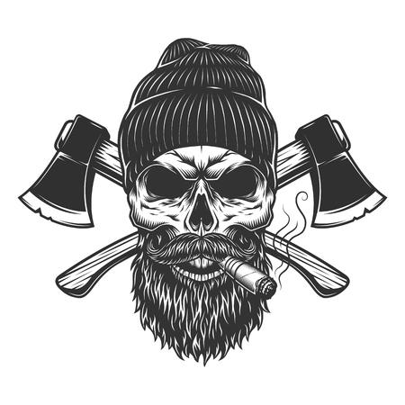 Cráneo de leñador vintage en gorro fumando cigarro con ejes cruzados aislados ilustración vectorial