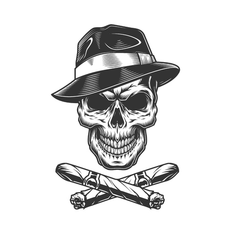 Vintage gangster skull in fedora hat with crossed cuban cigars isolated vector illustration