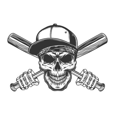 Vintage gangster skull in baseball cap with skeleton hands holding bats isolated vector illustration Illustration