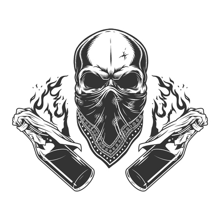 Vintage monochrome gangster skull with bandana on face and burning molotov cocktail bottles isolated vector illustration Illustration