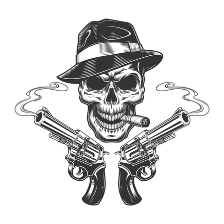Vintage monochrome killer skull smoking cigar with revolvers isolated vector illustration