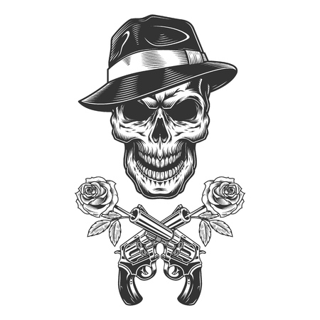 Vintage monochrome gangster skull with roses in crossed gun barrels isolated vector illustration