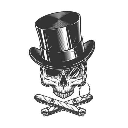 Gentleman skull in cylinder hat with rimless eyeglasses and crossed cigars in vintage monochrome style isolated vector illustration Illustration