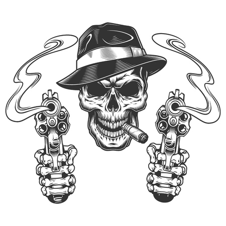 Vintage monochrome gangster skull smoking cigar with skeleton hands holding pistols isolated vector illustration