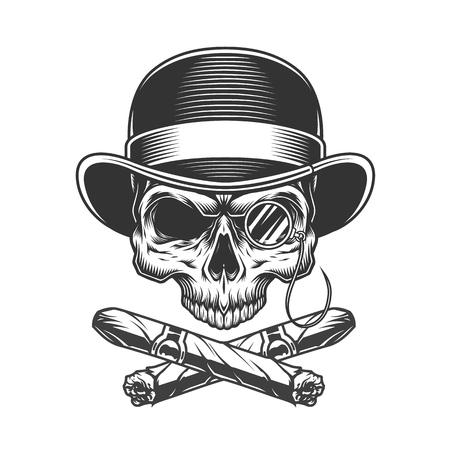 Vintage monochromer Gentleman Schädel mit gekreuzten kubanischen Zigarren isolierte Vektorillustration