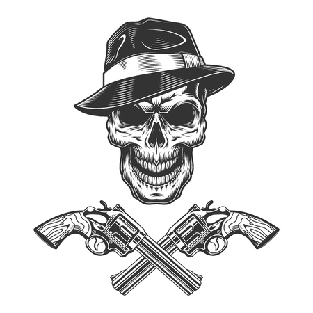 Vintage monochrome criminal concept with gangster skull and crossed pistols isolated vector illustration