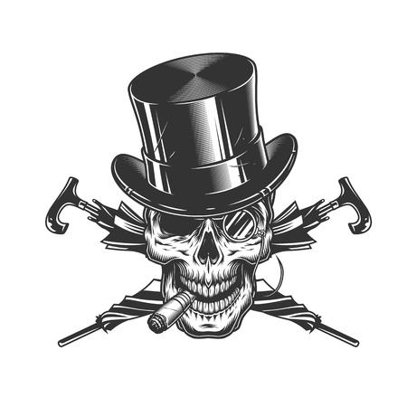 Vintage gentleman skull in cylinder hat smoking cigar with rimless eyeglasses and crossed umbrellas isolated vector illustration Illustration