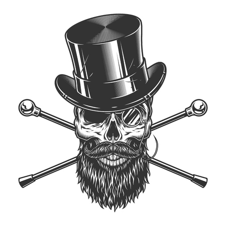 Cranio di gentiluomo vintage in cappello a cilindro con barba baffi occhiali senza montatura e bastoni da passeggio incrociati illustrazione vettoriale isolato