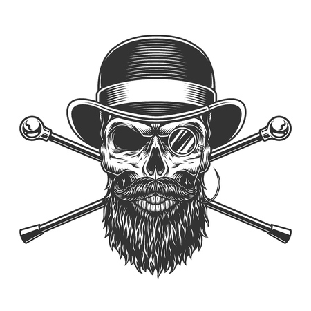 Bearded and mustached gentleman skull with rimless eyeglasses and crossed walking canes isolated vector illustration