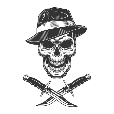 Gangster skull wearing fedora hat with crossed knives in vintage monochrome style isolated vector illustration