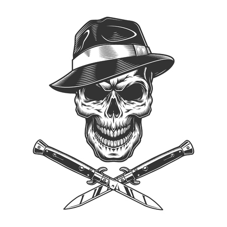 Vintage gangster skull in fedora hat with crossed knives isolated vector illustration