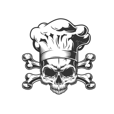 Vintage monochrome chef skull with crossbones isolated vector illustration