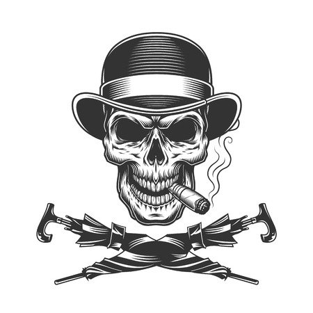 Vintage monochrome skull in fedora hat smoking cigar with crossed umbrellas isolated vector illustration