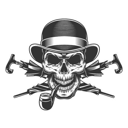Vintage gentleman skull in fedora hat smoking pipe with crossed umbrellas isolated vector illustration