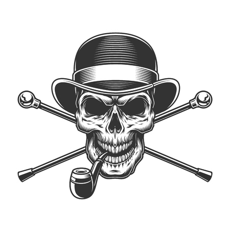 Vintage gentleman skull in fedora hat with smoking pipe and crossed walking canes isolated vector illustration