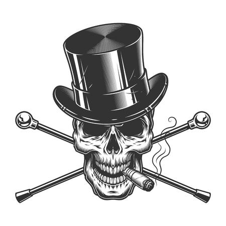 Vintage monochrome Gentleman Skull rauchende Zigarre mit Zylinderhut und gekreuzten Spazierstöcken isolierte Vektorillustration