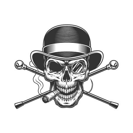 Vintage gentleman crâne fumant un cigare avec des lunettes sans monture et des cannes de marche croisées isolées illustration vectorielle Vecteurs