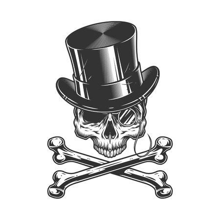 Vintage gentleman skull without jaw in cylinder hat with rimless eyeglasses and crossbones isolated vector illustration