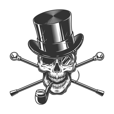 Vintage gentleman skull smoking pipe with cylinder hat rimless eyeglasses and crossed walking canes isolated vector illustration