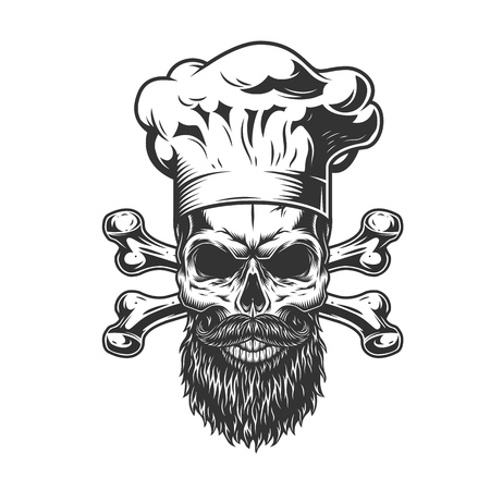 Bearded and mustached chef skull with crossbones in vintage monochrome style isolated vector illustration