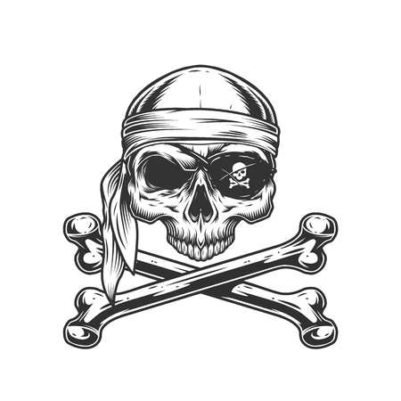 Vintage pirate skull without jaw in bandana and eye patch with crossbones isolated vector illustration