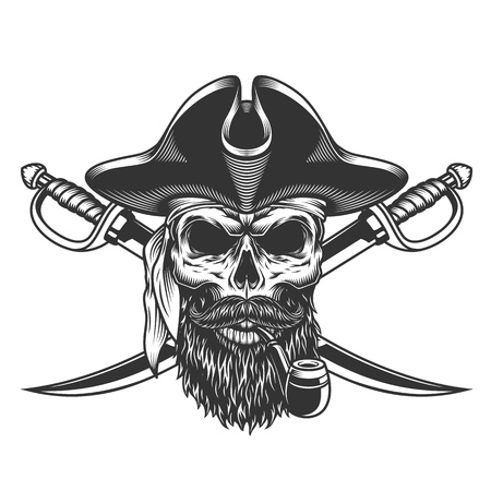 Bearded and mustached pirate skull smoking pipe with crossed swords in vintage style isolated vector illustration Illustration