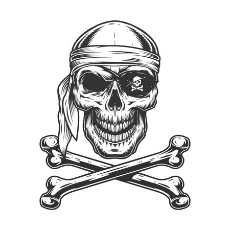 Teschio pirata vintage monocromatico con benda sull'occhio bandana e ossa incrociate isolate illustrazione vettoriale Vettoriali