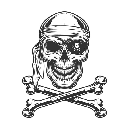 Vintage monochrome pirate skull with bandana eye patch and crossbones isolated vector illustration