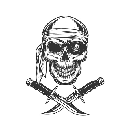 Skull in bandana and eye patch with crossed knives in vintage monochrome style isolated vector illustration