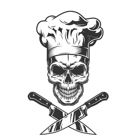 Vintage monochromatyczne kucharz czaszka ze skrzyżowanymi nożami na białym tle ilustracji wektorowych Ilustracje wektorowe